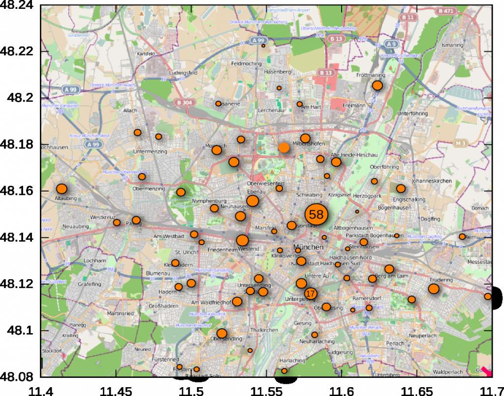 Visualisierung, wo die Münchner Piraten leben